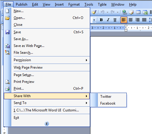 The customized File menu in Microsoft Word 2003