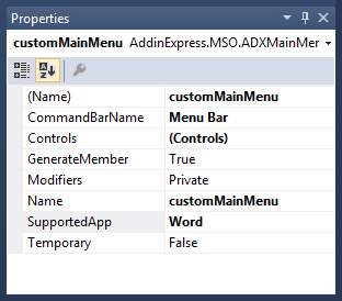 Configuring the properties of the newly added Main Menu component
