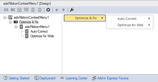 The newly created context menu for Word 2007-2013 at design time