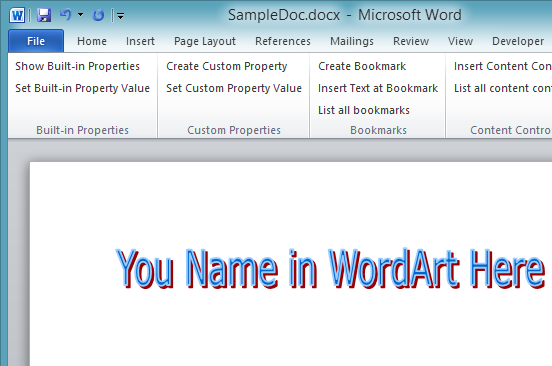 WordArt in Microsoft Word 2013 documen