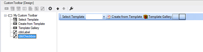 The custom Word commandbar in Visual Studio 2012 at design-time