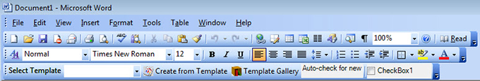 A custom toolbar with several controls in Word 2003