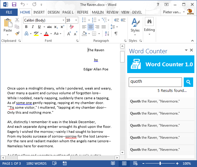 The standard Office task pane docked to the right of the Word application window