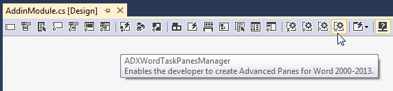 Adding a Word Task Panes Manager component to the AddinModule designer surface