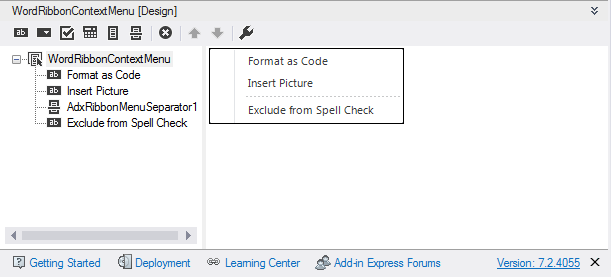 Designing a custom ribbon context menu for Word 2007 - 2013
