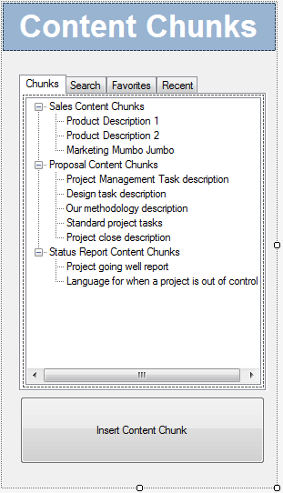 The custom Word task pane's design