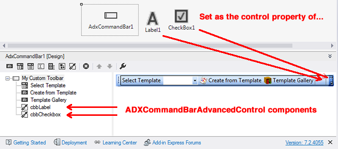 Designing a custom commandbar in Visual Studio