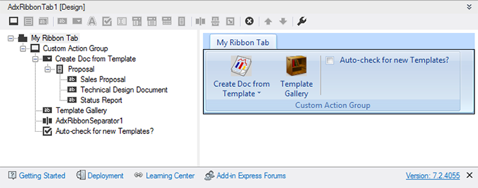 Designing a custom Word ribbon tab in Visual Studio