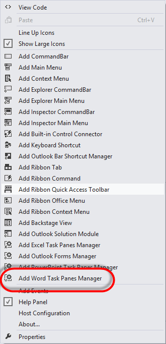 Adding Word Task Panes Manager