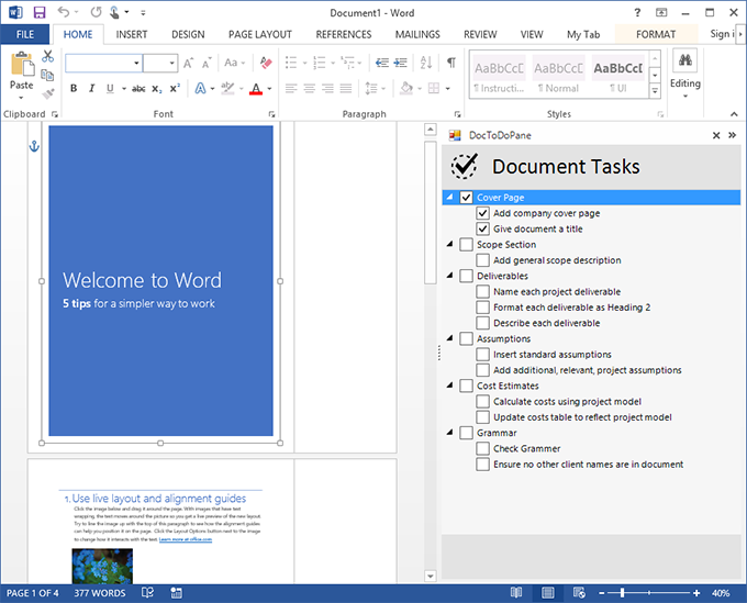 The custom task pane with a To-Do list in Word 2013