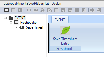 Add a new Ribbon Group and Ribbon button to your custom Ribbon tab.