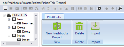 The custom Outlook Explorer Ribbon for the Freshbooks Projects folder