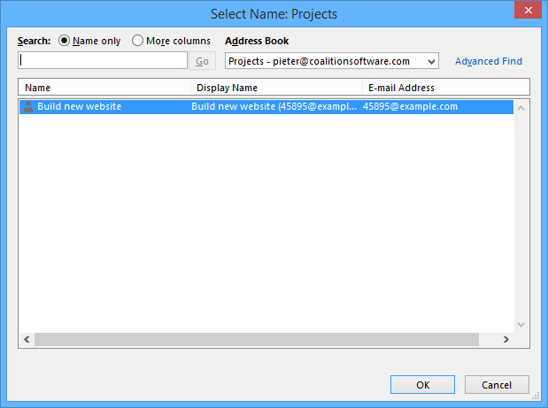 Show an Outlook Select Names dialog window when the user clicks on the search button.