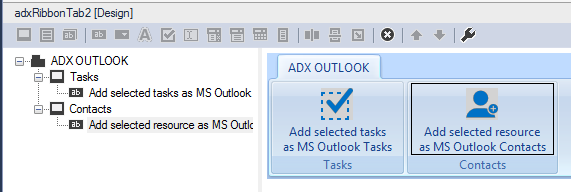 Creating a new ribbon tab MS Project to export the selected tasks or contacts to Outlook.