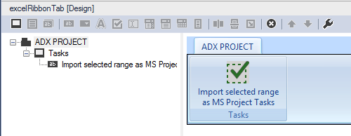 Creating a new ribbon tab MS Excel to import the selected cells into MS Project as tasks.