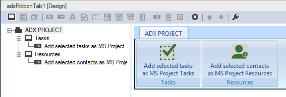Creating a new ribbon tab for Outlook to import the selected tasks or contacts to MS Project.