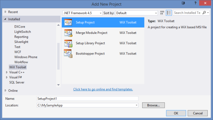 Adding a WiX Setup Project to your solution