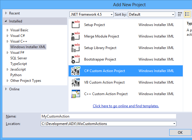 Adding a C# Custom Action Project template to the solution.