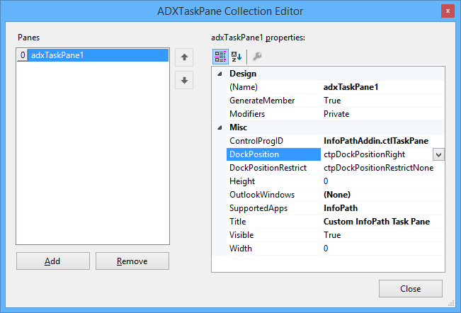 The ADXTaskPane Collection Editor dialog window