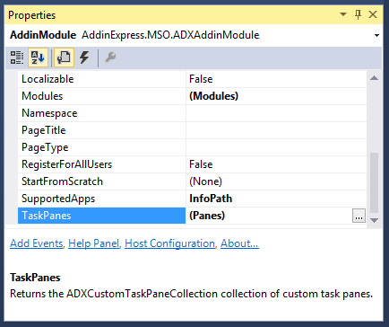 Click on the ellipses button next to the TaskPane property to display the ADXTaskPane Collection Editor dialog window.