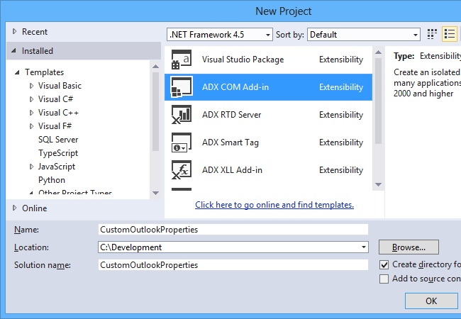 Creating the Outlook COM add-in project in Visual Studio 2013