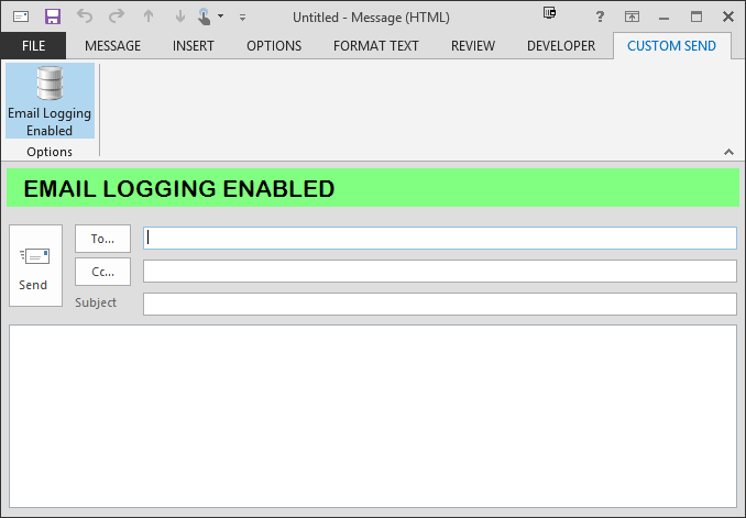 A sample Outlook add-in that logs all sent email in an Access database