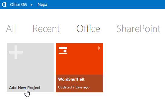 Log into your Office 365 Developer site and click on the 'Add new Project' button.