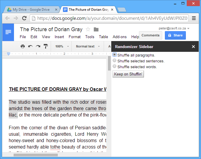The custom sidebar appears when editing the document in Google Docs.