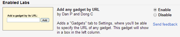 Enable the 'Add any gadget by URL' lab