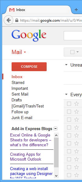 A Gmail gadget that displays the latest Add-in Express blog posts