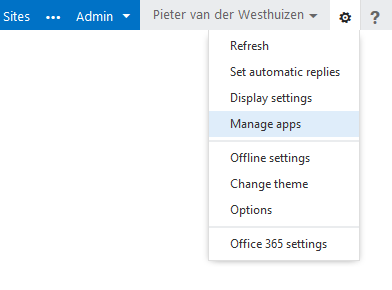 With Office 365 you can add apps by clicking on the Manage apps link