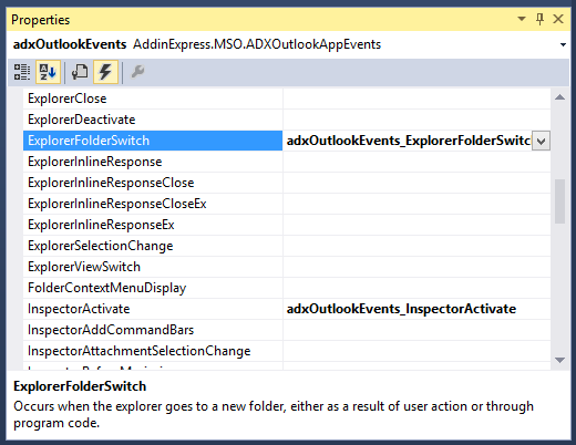 Adding logic to the ExplorerFolderSwitch Outlook event