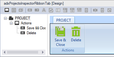 The design of a custom Outlook Ribbon Tab for the Inspector window