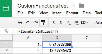 Using a custom function from within Google Sheets