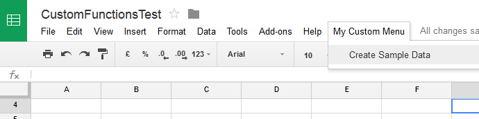 custom menu google sheet