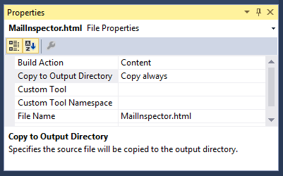 Set the 'Copy to Output Directory' property of the HTML page to Copy Always.