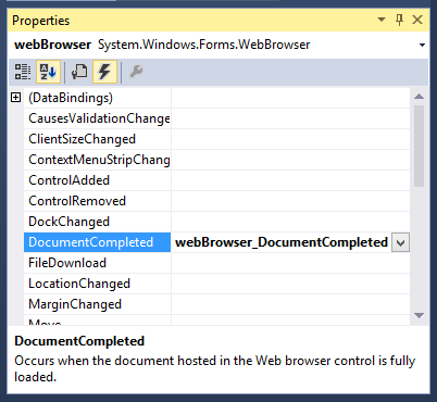 Generating a new event handler for the Web Browser control's DocumentCompleted event