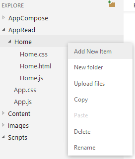 To add the bootstrap.css file, right-click on the <b>Home</b> folder and select Add new item.