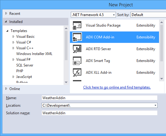 Creating the Outlook Add-in in Visual Studio