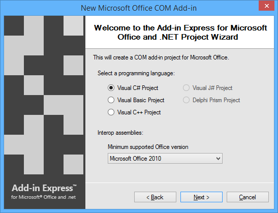 Select the programming language and minimum supported Office version.