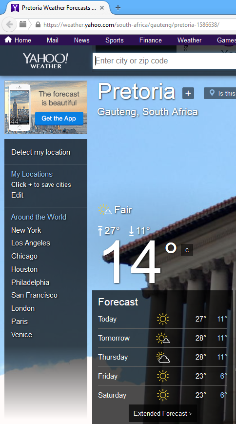 Using Yahoo Weather RSS feed to get the current weather as well as a 6-day forecast.