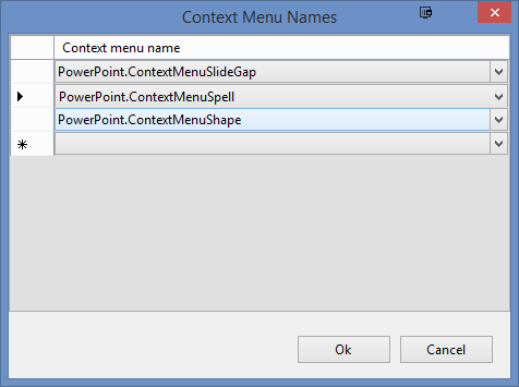 You can select multiple contexts using the Context Menu Names dialog.