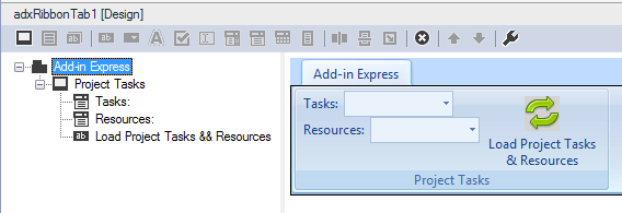 Add two drop-down boxes and a ribbon button to the custom MS Project Ribbon tab.