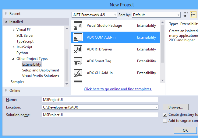 Creating an add-in for MS Project in Visual Studio