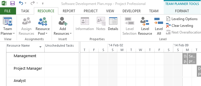 MS Project shows another FORMAT ribbon tab when the Team Planner is visible.