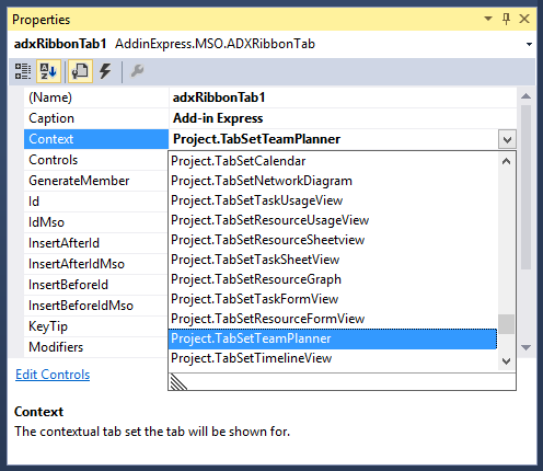 Add-in Express automatically list all the available context names for each Office application.