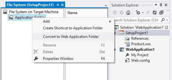 Click 'Convert to Web Application Folder' to convert your project to a web setup