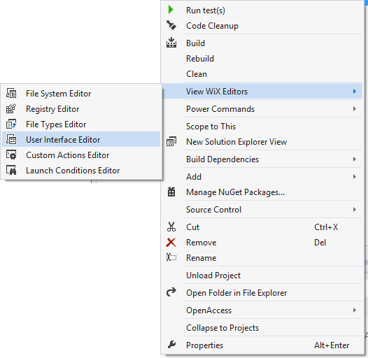 Right-click the setup project in the VS Solution Explorer to access the UI editor