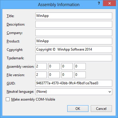 Changing the version number in the Assembly Information dialog