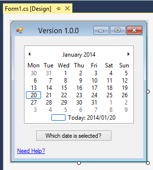 A simple Windows form application that displays a Calendar control and a button.
